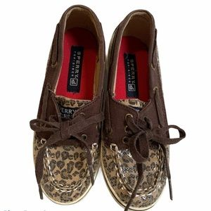 Sperry kids shoes size 13 leopard print brown
